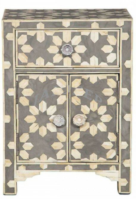 Black Metal Bedside Tables: Handmade Antique Bone Inlay Black Star Design Wooden