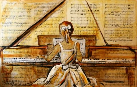 'Afternoon Practice' Mixed Medium Antique Piano Music Girl Child on Piano Painting by Texas Artist Laurie Pace, painting by artist Laurie Justus Pace