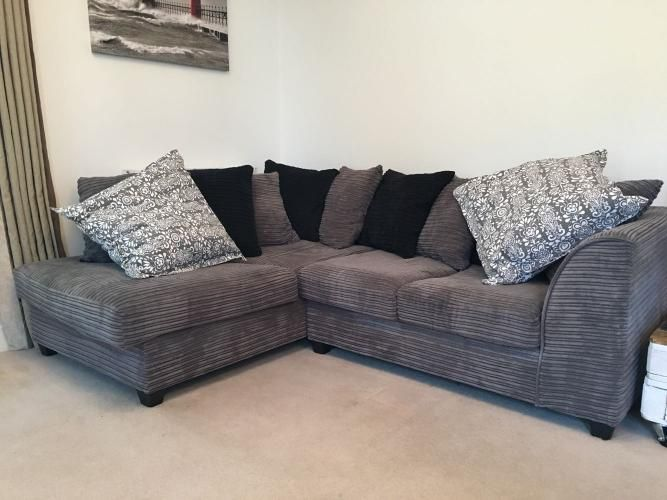 Grey corner sofa with matching swivel chair and footstool For Sale in Warwick, Warwickshire   Preloved