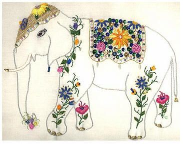 Brazilian Embroidery Design Maya The Elephant//I could try this next