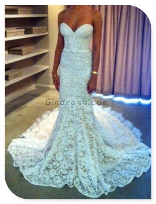 Mermaid wedding dress. Gindress via once wed #weddingdress