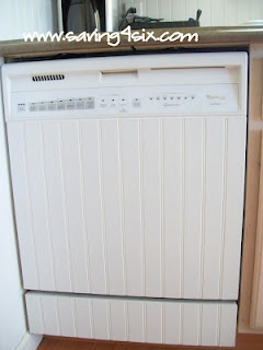 DIY - Add beadboard to your dishwasher for a really nice, finished look.  From http://www.saving4six.com/2012/04/diy-dishwasher-facelift.html