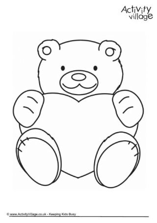 Valentine Teddy Colouring Page