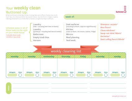 Tool: Free Printable Weekly Cleaning List