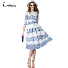 Leefeesky lato 2017 new fashion kobiety sexy party suknie eleganckie retro drukuj koronka długa dress kobiet dorywczo szczupła odzież # a819(China (Mainland))