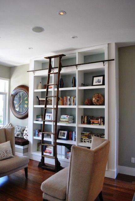 LadderCustom Kitchens, Bookshelves, Living Rooms, Contemporary Living Room, Home Libraries, Built In, Living Room Design, Bookcas, Libraries Ladders