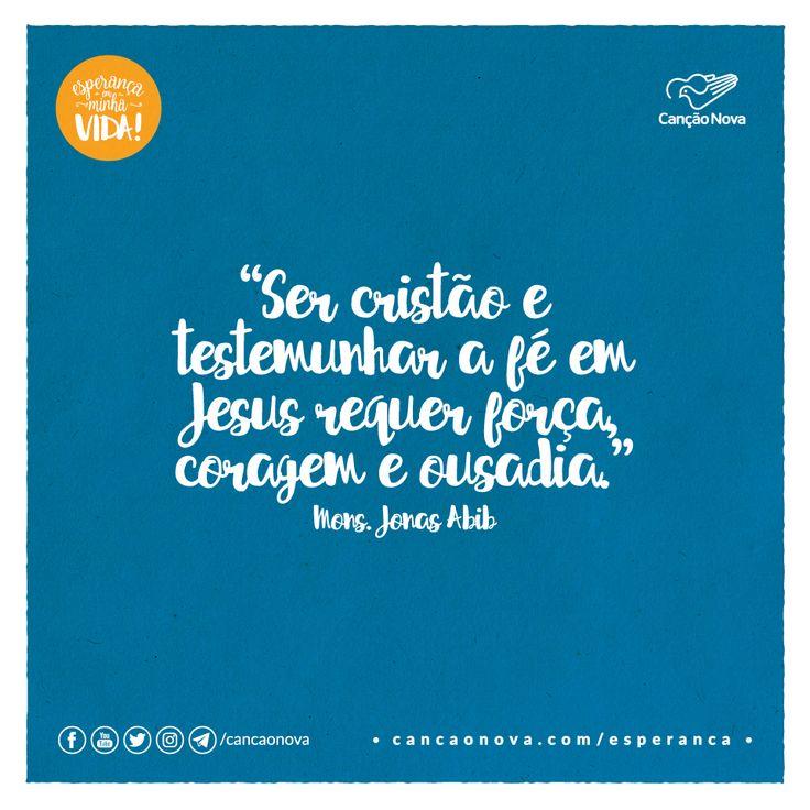 """""""Ser cristão e testemunhar a fé em Jesus requer força, coragem e ousadia."""" Mons. Jonas Abib"""