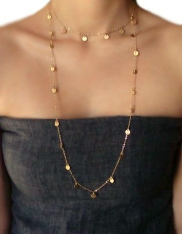 Cougar Town Long 54 Inch Wrap Around Jules Cobb Courtney Cox Necklace GOLD. $65.00, via Etsy.