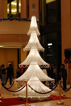 Crystal Christmas Tree, Harbour Grand Hotel..make with lamp shade frames and crystals...I could do that!