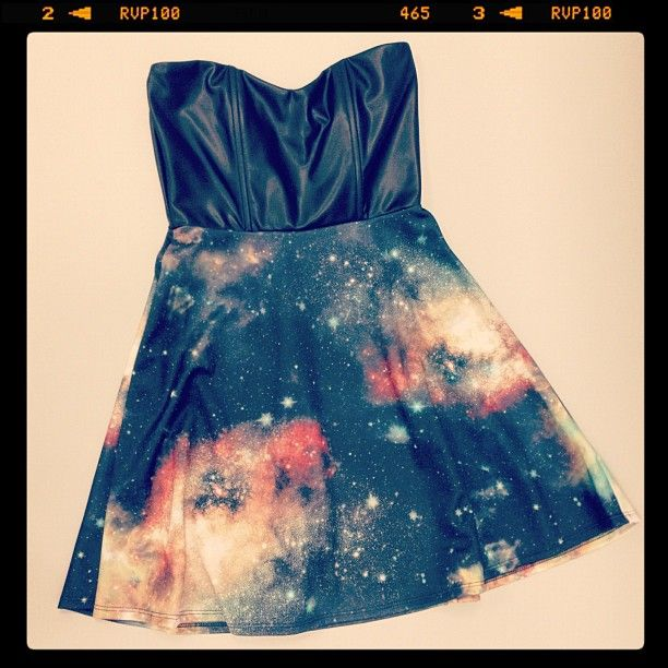 #Galaxy print and leather sweetheart top dress. #Geek