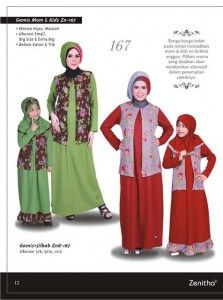 Gamis Mom and Kids Zn-167 Hijau dan Maroon