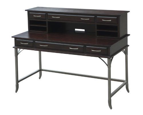 Home Styles Bordeaux Executive Desk and Hutch by Home Styles. $604.89. All drawers are side mounted with easy-glide metal drawer guides. Two side storage drawers. Equipped with three drawers and one multi-function drop-down front center drawer with cable access. Hutch provides an abundance of storage with one large middle drawer with two side storage drawers. Work Space is approximately 1300 Square-inch. Transitional design characteristics are highlighted in the Bordeaux ...