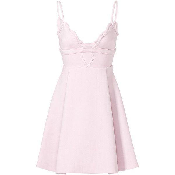 Rental Giambattista Valli Pink Scallop Dress ($400) ❤ liked on Polyvore featuring dresses, vestidos, pink, pink full skirt dress, v neck dress, no sleeve dress, pink day dress and giambattista valli