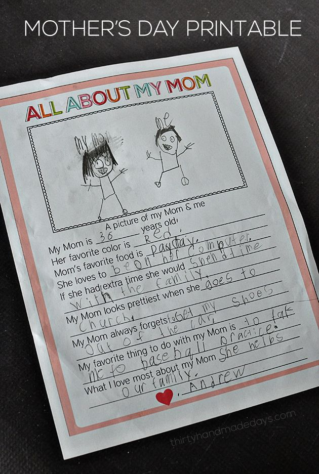Fun fill in the blank Mother's Day Printable - This would be SO cute for a classroom project!