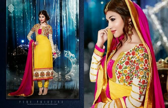 Very Beautifully Designed Silk Jacquard Floor length Yellow Straignt cut dress With Superb thread Embroidery and Stone work en-crafted. Comes along with Santoon Bottom and inner and Chiffon Duppatta.