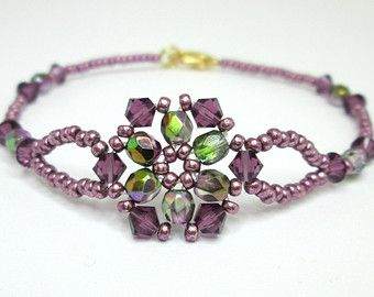 Pink purple and silver dainty beadwoven by AquaStudioDesigns