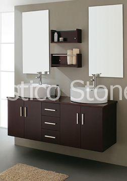 Badkamermeubel 150*50 cm, spiegel 50*80 cm, MDF board, keramische wastafel, painting finish, kleur donker bruin