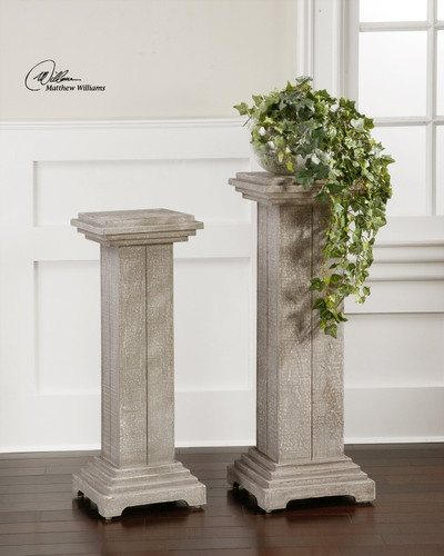 Accent tables plant stands set s 2 solid fir wood pedestal - Column pedestal plant stand ...