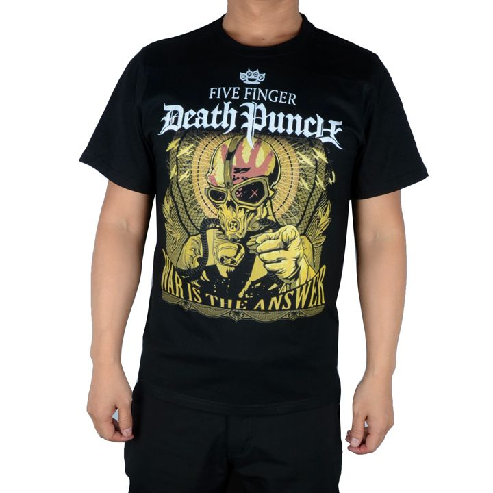 Free shipping  Five Finger Death Punch  Mens Wotf Ninja T-Shirt In Black