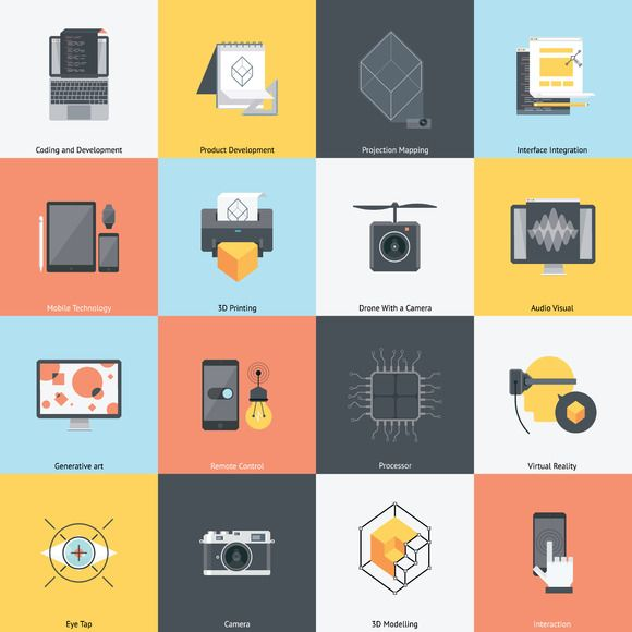 Technology and development icon set by howcolour on Creative Market