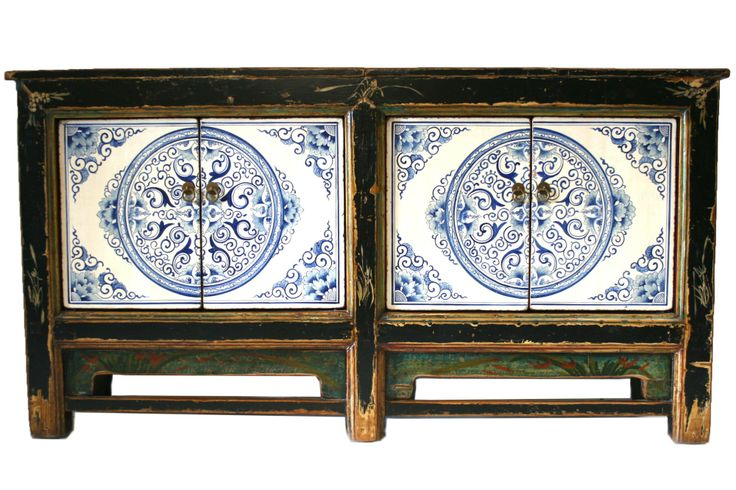Beautiful colored chinese sideboard Blue and white front design - CU477 163*40*85 Aparador China