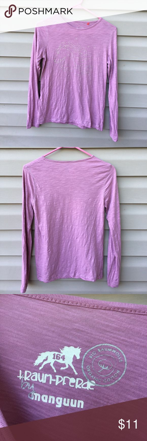 Manguun girls long sleeve purple shirt Nice girls long sleeve purple shirt, with horse and mane in bling on front. 100% cotton. No stains or holes manguun Shirts & Tops Tees - Long Sleeve