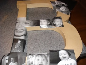 Mod podge photo letter this would be cute around the house with each kids first letter of there name and pics of them.