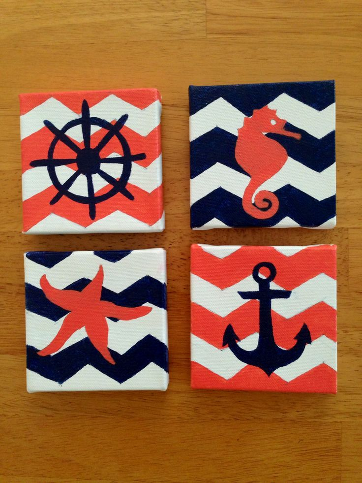 Navy and coral chevron nautical canvases