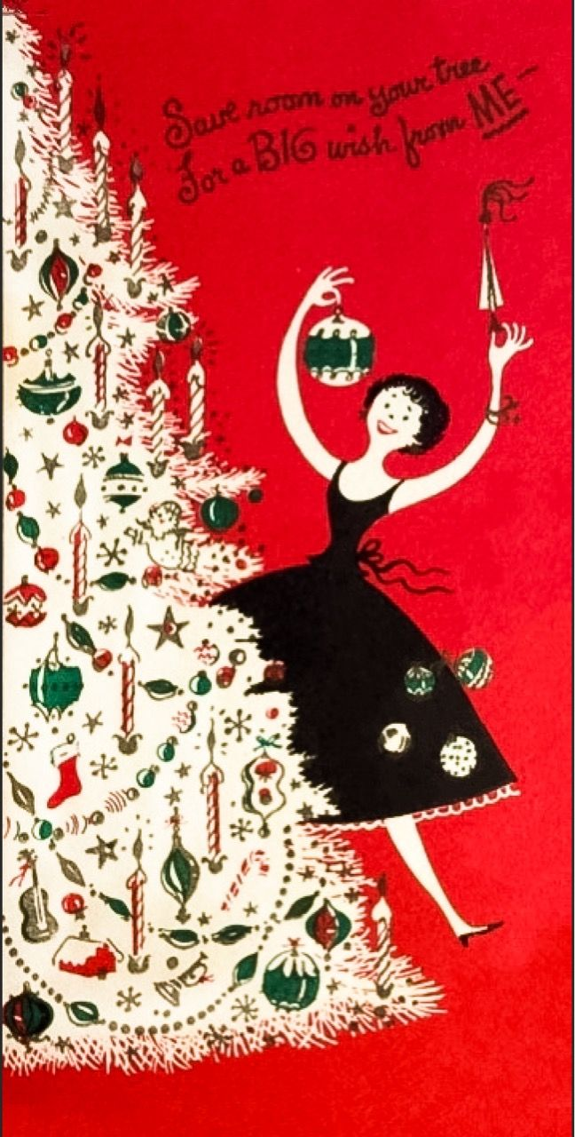 743 tags christmas decorations festival holiday christmas tree views - Festive Lady Decorating Christmas Tree Ornament Vintage Christmas Greeting Card