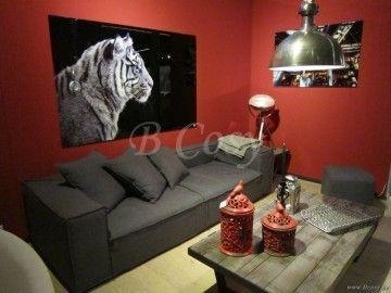 """PR Interiors Glazen paneel kader 180 Tijger II in zwart wit zijdelings-zijzicht met blauwe ogen<span style=""""font-size: 0.01pt;""""> PR-Rogiers-Home-Interiors-CSH/006 wandpaneel-wanddecoratie-decoration-murale-decoration-murale-panneau- </span>"""