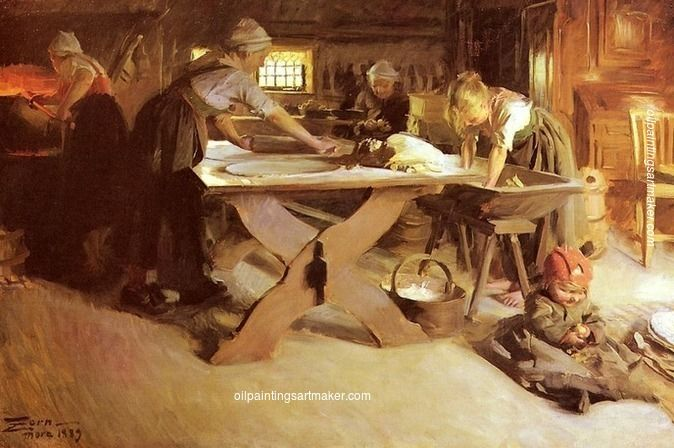 Anders Zorn Baking the Bread, 1889, painting