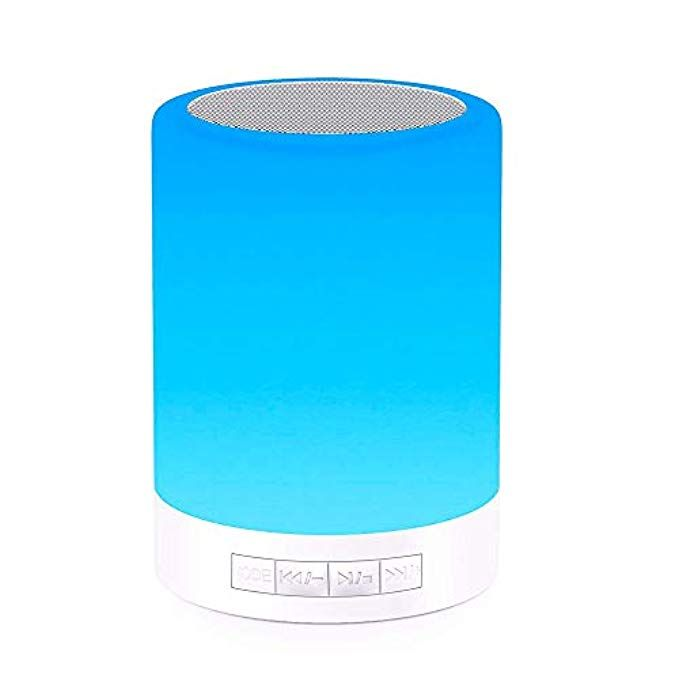 Elecstars Touch Bedside Lamp With Bluetooth Speaker Dimmable Color Night Light Outdoor Table Lam Best Gifts For Men Bedside Lamp Cool Technology Gifts