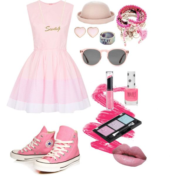 I dont know how to make a good fashion. But this is a mix between a sweet dress and swag accessories
