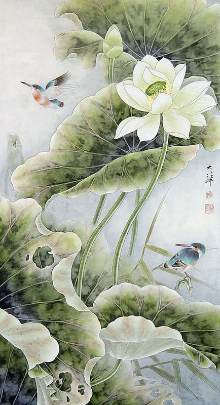 Природа глазами художников Lou Dahua Lotus Art Asian