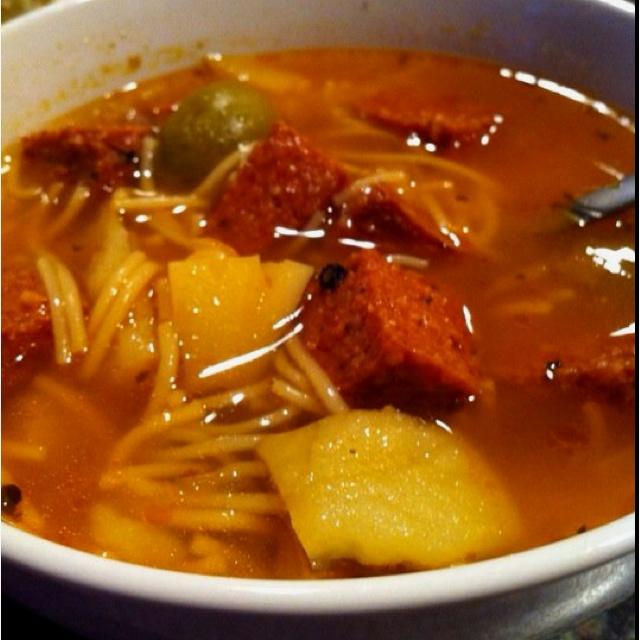 Sopa de salchichon. (Hard salami soup) A Puerto Rican favorite on a rainy day ;)