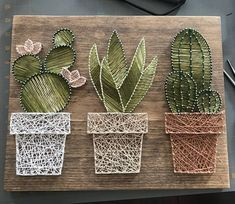 Kaktus Garten String Kunst • suculent String srt • Wohnkultur • rustikale Wandkunst • rustikale saftige Kakteen Wand-Dekor • Ombre Kaktus