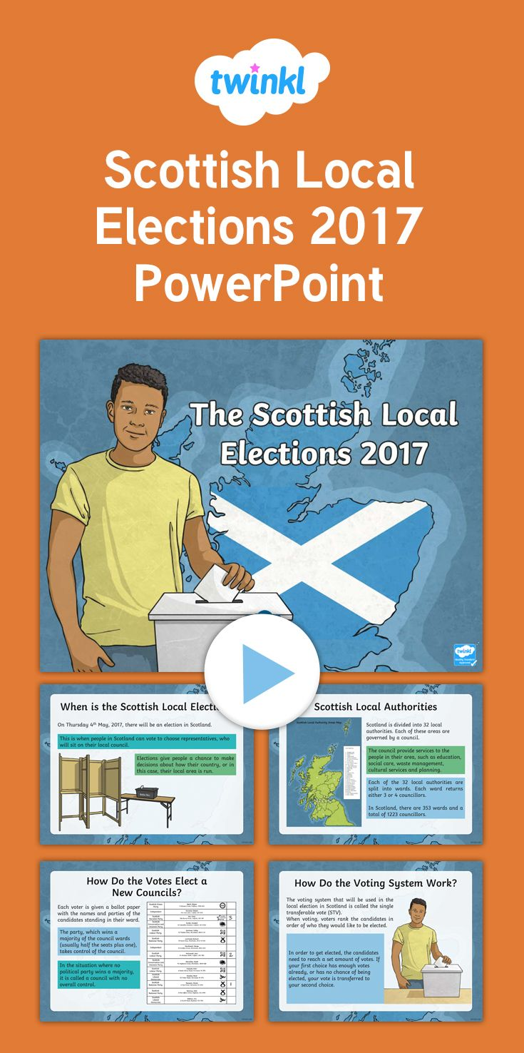 Scottish Local Elections 2017 - This PowerPoint features information you can use in your class to help teach your children about the 2017 Local Election!