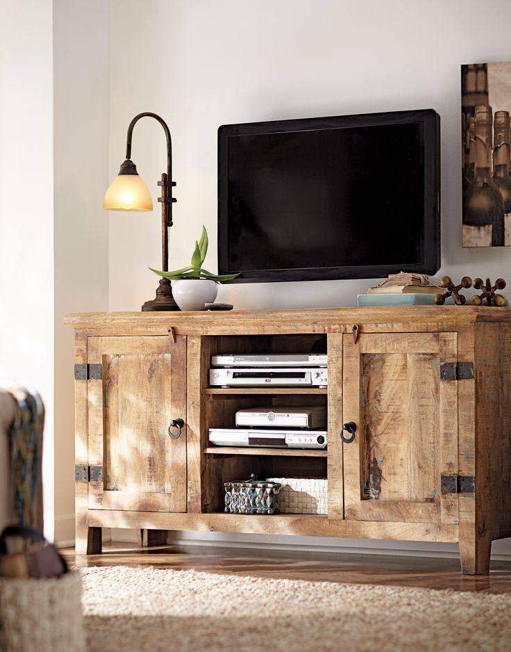 Got to love a weathered mango wood TV stand. HomeDecorators.com #12DaysofDeals #mediacabinets