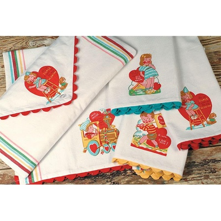 Retro Valentine Kitchen Towel Set  Check To See If It Becomes Available