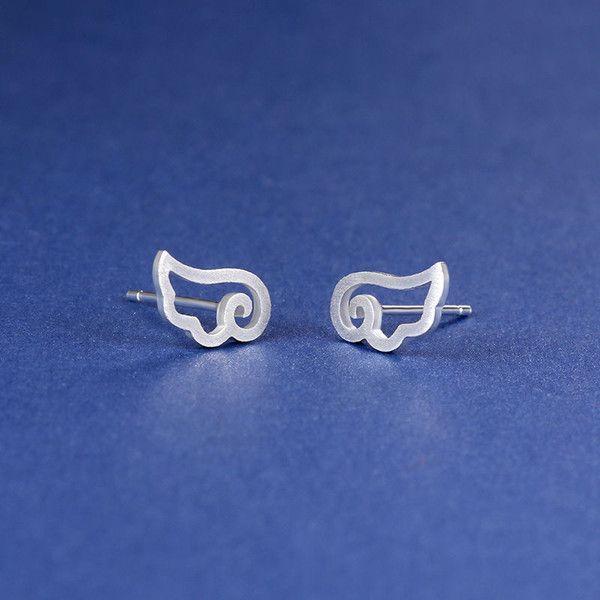 Silver Wing Stud Earrings ($3.71) ❤ liked on Polyvore featuring jewelry, earrings, fancy jewellery, fancy earrings, wing jewelry, silver jewelry and silver stud earrings