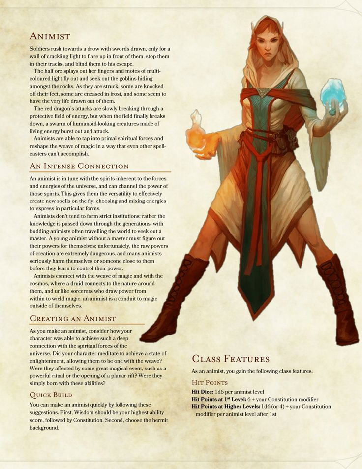 DnD 5e Homebrew — Animist Class by DersitePhantom