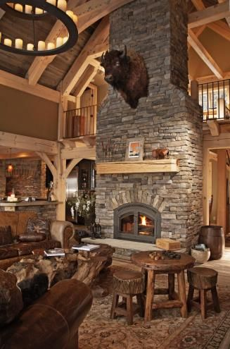 Great Room Of A Luxurious Timber Frame Lodge In New York