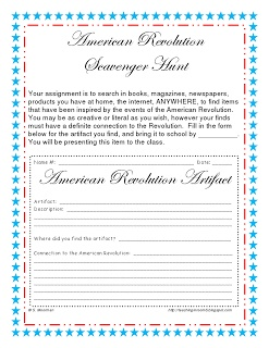 American Revolution Scavenger Hunt freebie form....so your students can start thinking of ways to represent the time period.