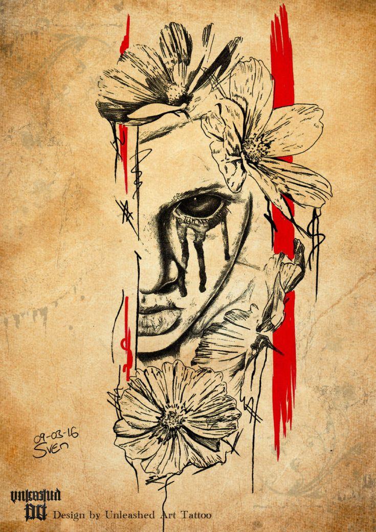 Horror Tattoo with Polka Trash Elements by UnleashedArtTattoo on @DeviantArt