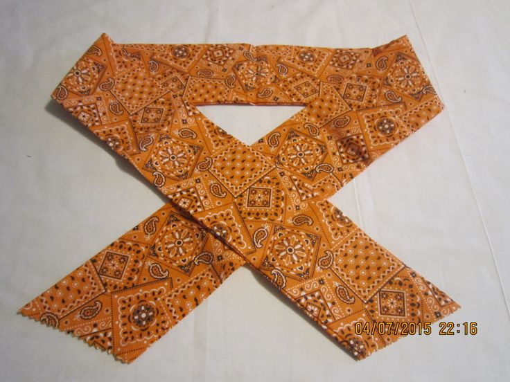 """Extra Wide 3"""" Reusable Non-Toxic Cool Wrap / Neck Cooler  - Cowboy/Bandana/Hanky - Orange by ShawnasSpecialties on Etsy"""