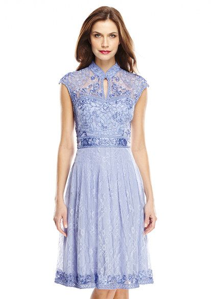 Sue Wong Periwinkle Dress with Mandarin Collar
