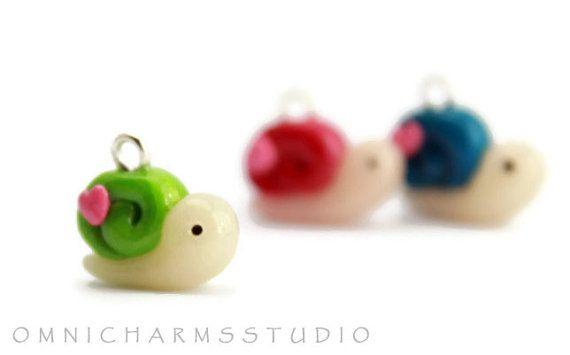 Kawaii Cute Snail Polymer Clay Charm Green by OmniCharmsStudio