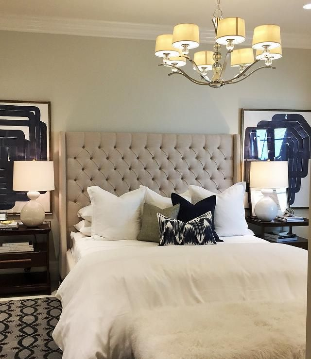 25 Stunning Transitional Bedroom Design Ideas: Beige Tufted Wingback Bed With Tiered Nightstands