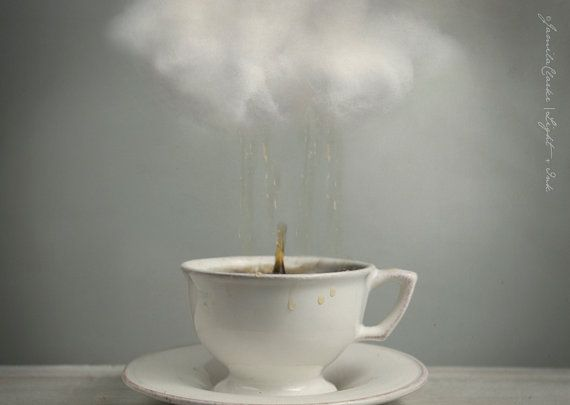 Raining Tea - Cloud Teacup - Small Photo Print - Conceptual Still Life - White Blue - Wall Art - Fine Art Photography on Etsy, $10.00