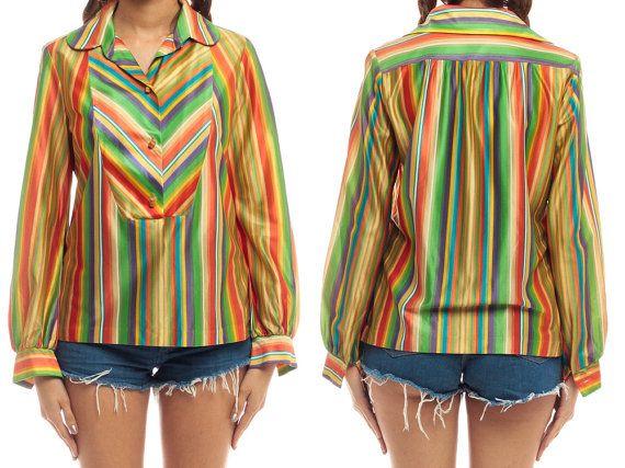 Arc-en-ciel Shirt Boho chemise Hippie Blouse CHEVRON par ShopExile
